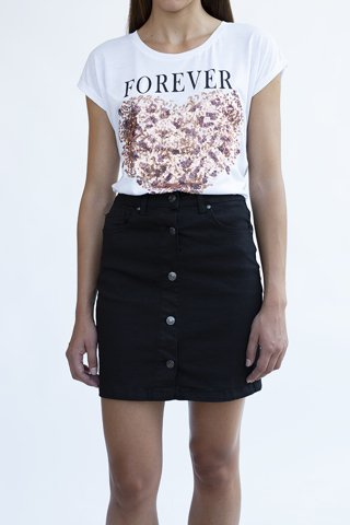 Picture of Mini Denim Skirt with buttons ''Maxima'' in Black