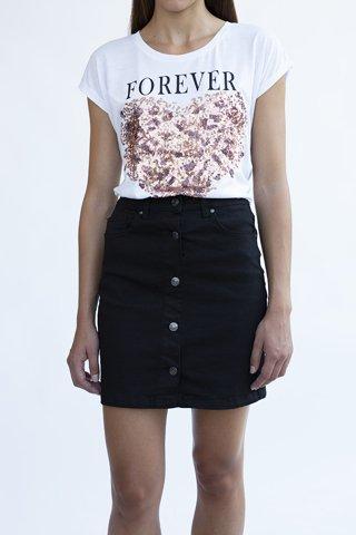 Εικόνα της Μίνι Φούστα Denim ''Maxima'' σε Μαύρο Χρώμα