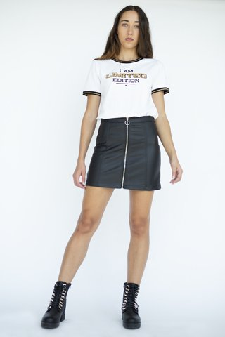 """Picture of Faux Leather Mini Skirt """"Kate"""" in Black"""