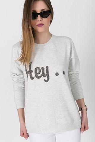 "Picture of  Sweatshirt ""Hey"" in Off-White Melange"
