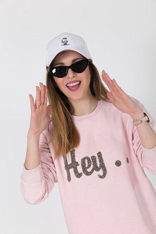 """Picture of Sweatshirt """"Hey"""" in Pink"""