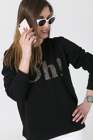 "Picture of  Sweatshirt ""Oh!'' in Black"
