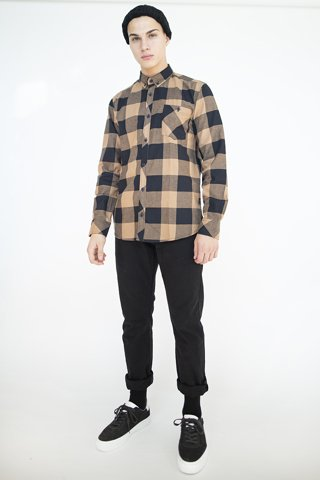 Picture of Men's Check Shirt ''Oliver'' Camel