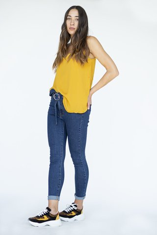 Picture of Denim Pants Slim with Belt in Blue