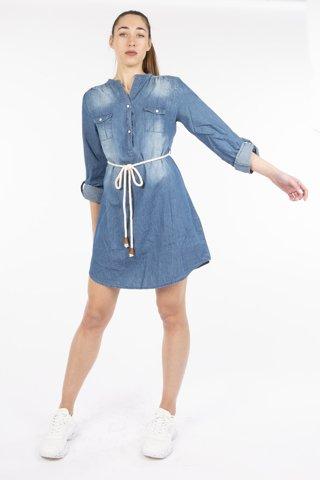 """Εικόνα της Φόρεμα """"Patty"""" Blue Denim"""
