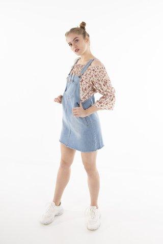 """Εικόνα της Τζιν Φόρεμα Σαλοπέτα """"Kylie"""" Blue Denim"""