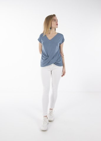 "Picture of Women's Short Sleeve Blouse ""Kona"" in Blue"
