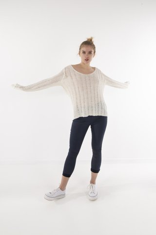 "Picture of Sweater with Stripe ""Kim"" White"
