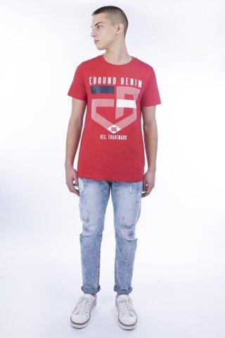 """Εικόνα της Ανδρικό T-Shirt Κοντομάνικο με Τύπωμα """"Denim"""" σε Κόκκινο Melange"""