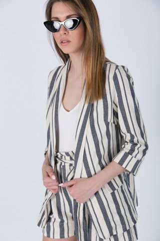 """Picture of Open Blazer """"Harper"""" in Blue Navy with Stripes"""