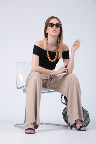 "Picture of Flowing Trousers ""Wide"" in Beige"