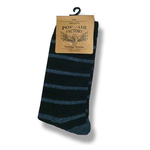 """Εικόνα της Basic Σετ Ανδρικές Κάλτσες """"Colored"""" Ριγέ σε Blue Denim Χρώμα"""