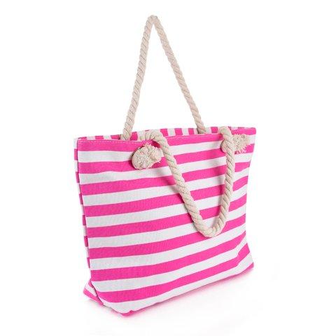 "Picture of Γυναικεία Τσάντα Παραλίας ""Stripy"" σε Ροζ Χρώμα"