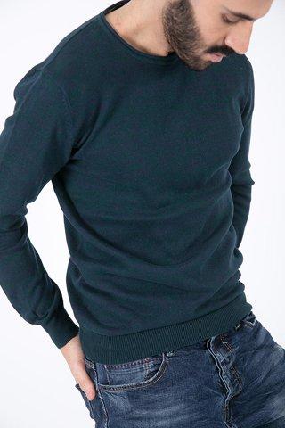 Εικόνα της Ανδρικό Πουλόβερ Basic σε Σκούρο Πράσινο Χρώμα