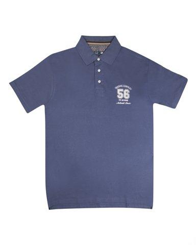 """Εικόνα της Ανδρικό Κοντομάνικο Πόλο Basic """"Trading Company"""" σε Μπλε Χρώμα"""