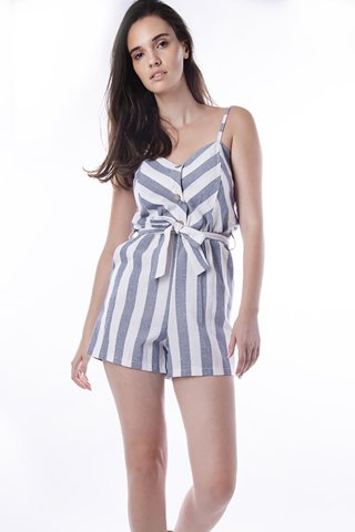 "Picture of Striped Jumpsuit Shorts ""Anne"" in Blue Navy"