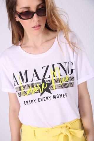 """Εικόνα της Γυναικείο Κοντομάνικο T-Shirt """"Amaze"""" σε Χρώμα Λευκό"""