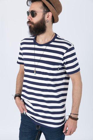 """Εικόνα της Ανδρικό Κοντομάνικο T-Shirt """"Malik"""" σε Χρώμα Off-White/ Σκούρο Μπλε"""