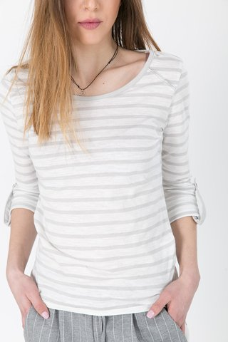 "Picture of Striped Top 3/4 Sleeve ""Femke"" in Grey Light"