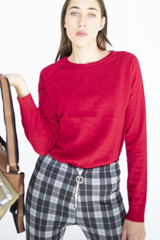 Picture of Basic Long Sleeve Sweater ''Sasa'' in Red