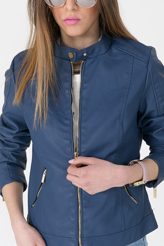 "Picture of Faux Leather Jacket ""Vivian"" in Blue Denim"