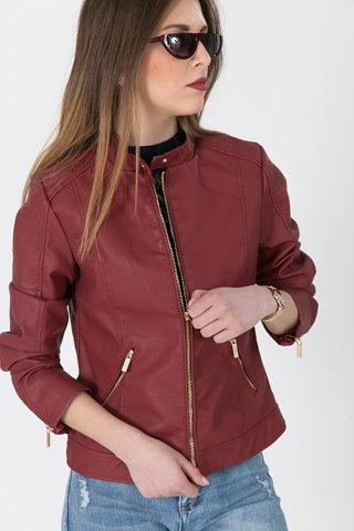 """Picture of Faux Leather Jacket """"Vivian"""" in Bordeaux"""