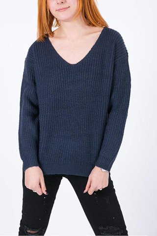 "Picture of Open-knit Sweater ""Zoe"" in Blue"