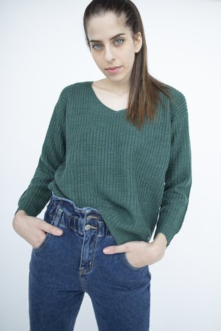"Picture of Open-knit Sweater ""Maria"" in Dark Green"