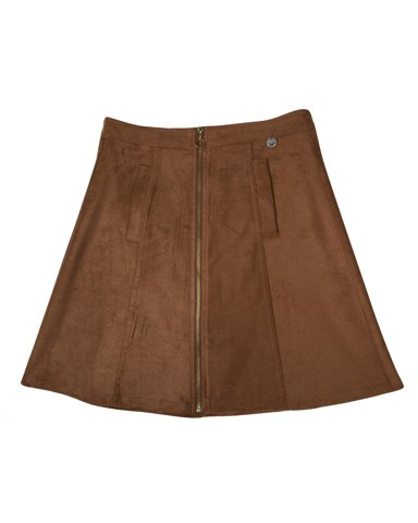 Picture of Faux Suede Mini Skirt Envy in Tabac