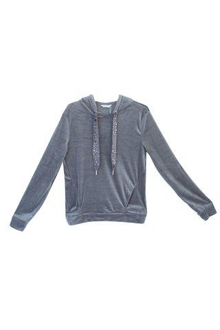 Picture of Women's Velvet Hoodie in Grey