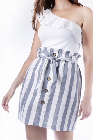 """Picture of Mini Striped Paperbag Skirt """"Emma"""" in Blue Navy"""