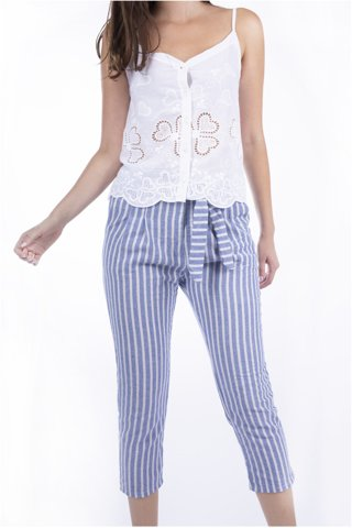 "Picture of Women's Striped 3/4 Trousers ""Hope"" in Blue Navy"