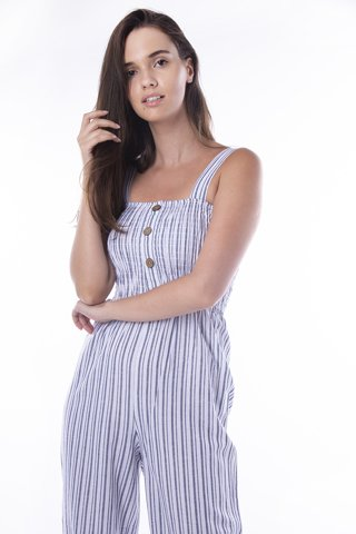 "Picture of Women's Striped Jumpsuit 3/4 ""Jane"" in Blue Navy"