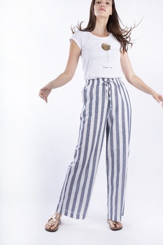 "Picture of Women's Striped Trousers ""Valerie"" in Blue Navy"