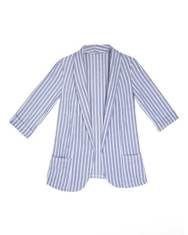 "Picture of Women's Striped Blazer 3/4 ""Hope"" in Blue Navy"