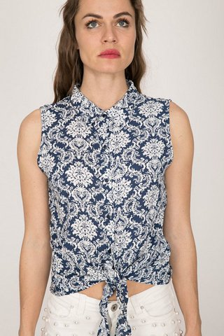 "Picture of Women's Textured Sleeveless Shirt ""Alison"" No 528 in Blue Navy"