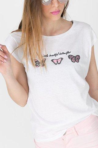 """Εικόνα της Γυναικείο Κοντομάνικο T-Shirt """"Selina"""" σε Χρώμα Off-White"""
