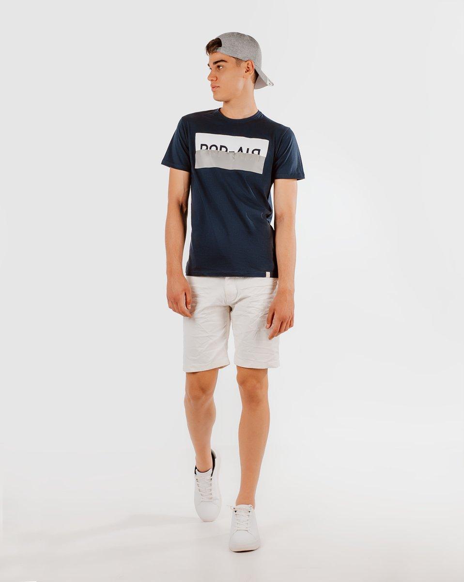 """Ανδρικό Κοντομάνικο T-Shirt """"Lines"""" σε Χρώμα Μπλε"""
