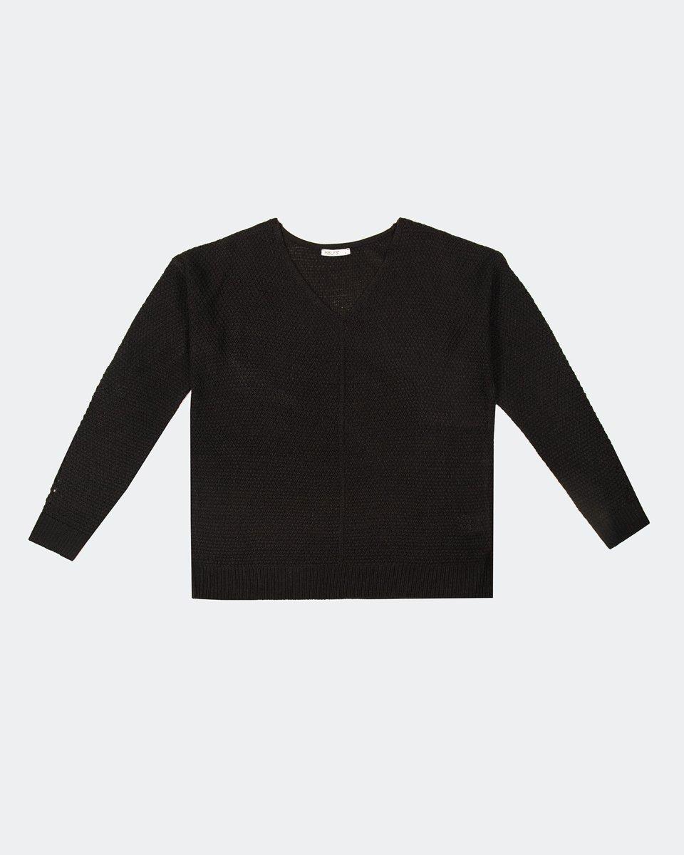 """Γυναικεία Μπλούζα Πλεκτή """"Cleo"""" σε Χρώμα Μαύρο"""