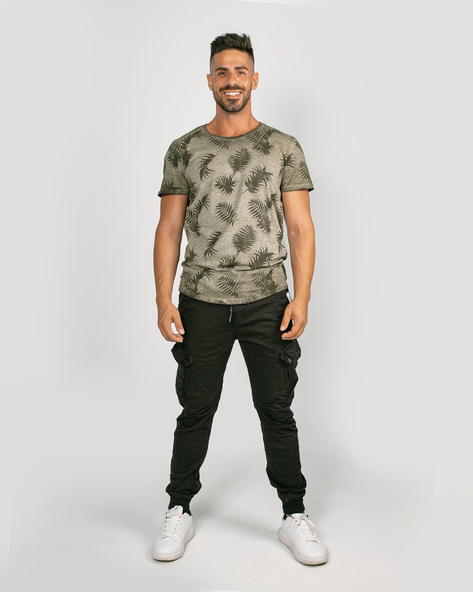 """Ανδρικό Κοντομάνικο T-Shirt """"Mario"""" σε Χρώμα Χακί"""