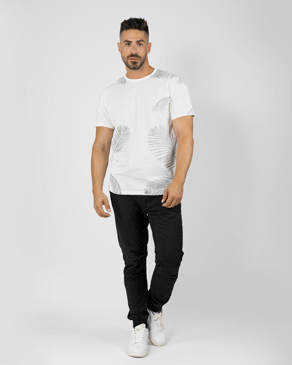 """Ανδρικό Κοντομάνικο T-Shirt """"Leafy"""" σε Χρώμα Off-White"""