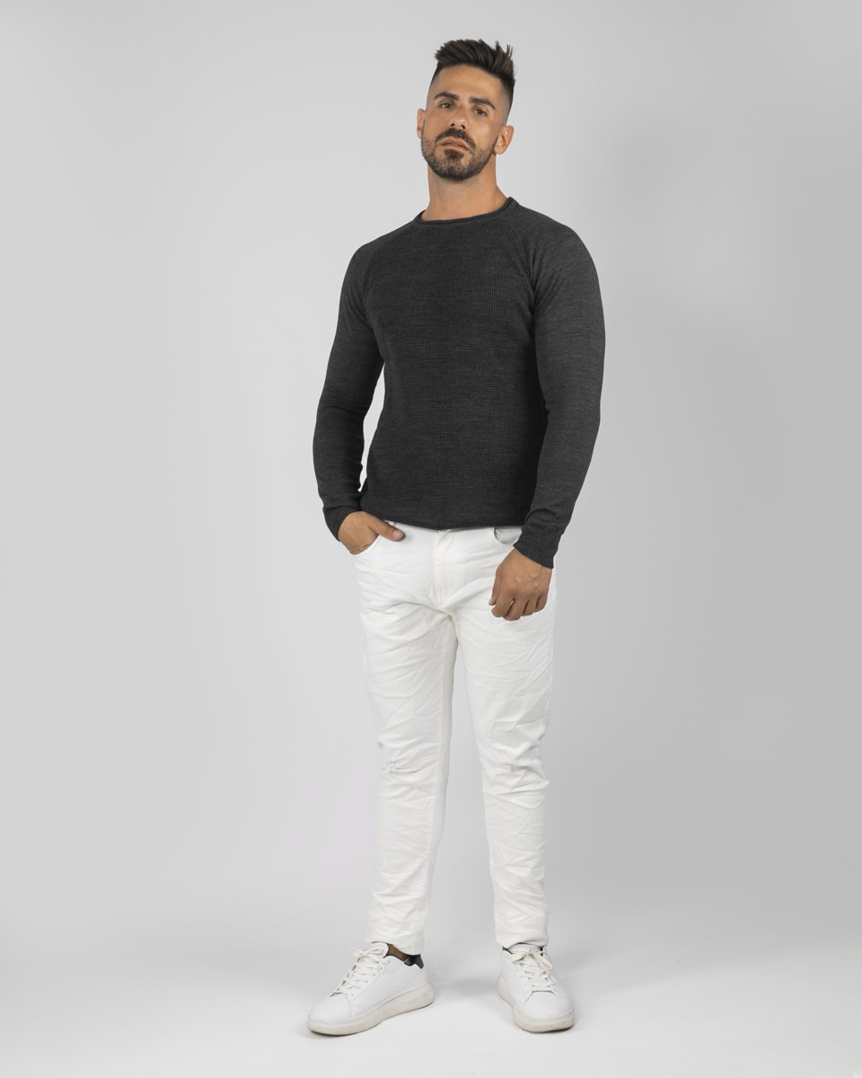 "Picture of Men's Textured Sweater ""Giannis"" in Anthra"