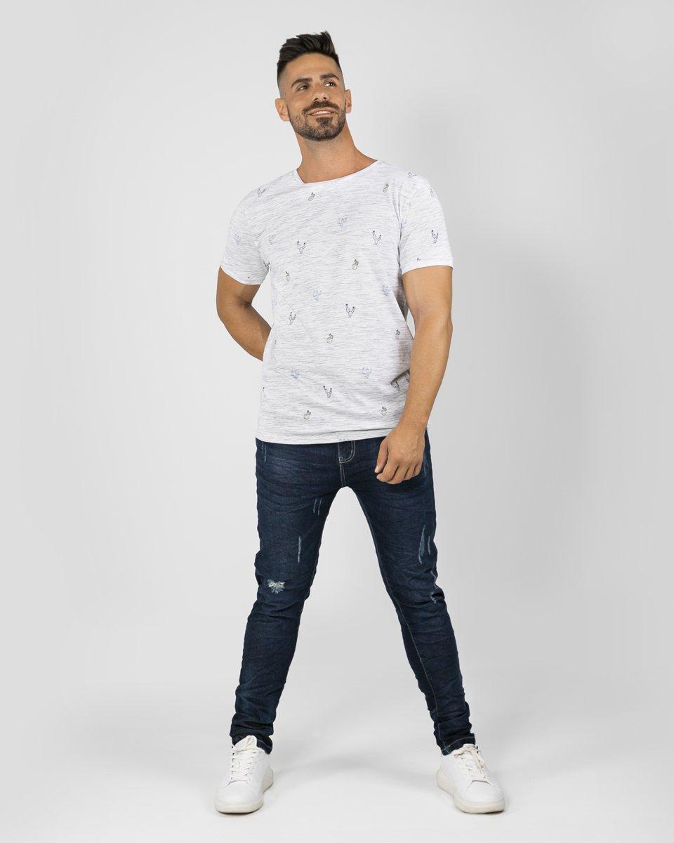 "Picture of Men's Short Sleeve ""Minimal-Cactus"" in White Melange"
