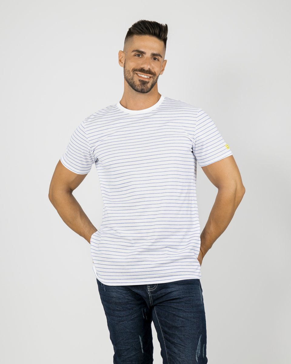 "Picture of Men's Short Sleeve T-Shirt ""Kane"" in White-Blue Royal"