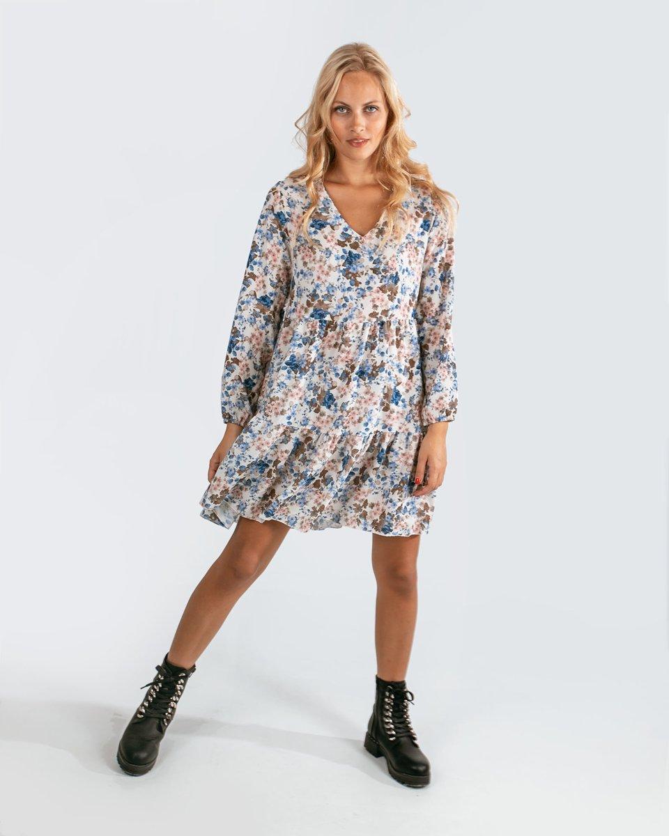 """Μίνι Φόρεμα """"Vita"""" Εμπριμέ σε Χρώμα Off-White"""