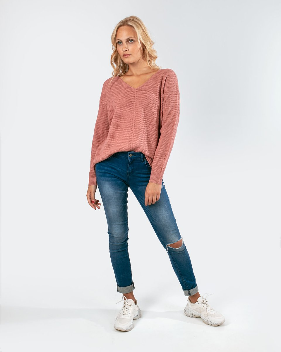 """Picture of Women's V-Neck Knit Sweater """"Cleo"""" in Dusty Rose"""