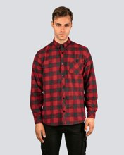 "Picture of Men's Checked  Long Sleeve Shirt ""Thomas"" in Bordeaux"