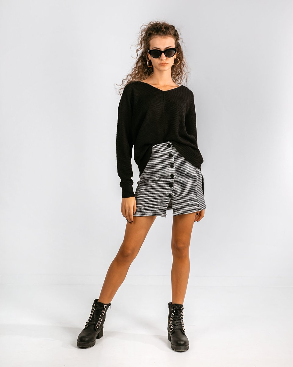 "Picture of Women's V-Neck Knit Sweater ""Cleo"" in Black"