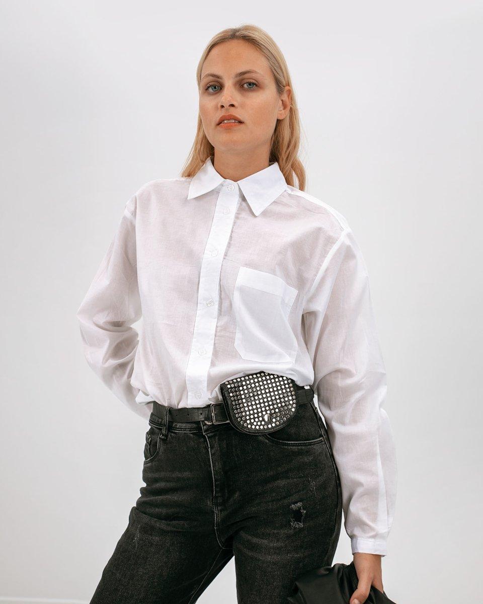 """Γυναικείο Πουκάμισο Oversized """"Brooke"""" σε Λευκό Χρώμα"""