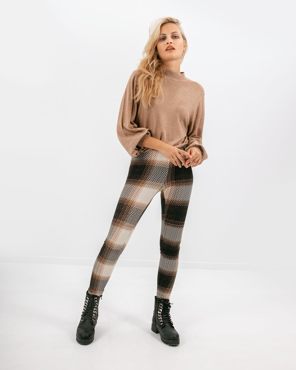 "Picture of Women's Check Leggings ""Lora"" in Black"
